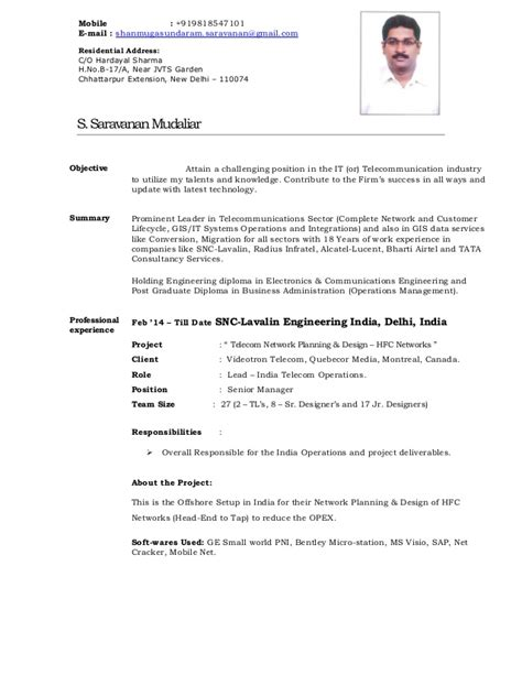 Technical Support Resume India by Cv S Saravanan Mudaliar Network Planning Gis
