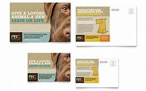 dog adoption flyer template - animal shelter pet adoption postcard template design