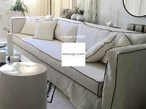 canape dehoussable en lin lave blanc avec liseret velours With tapis bébé avec canapé lin froissé blanc