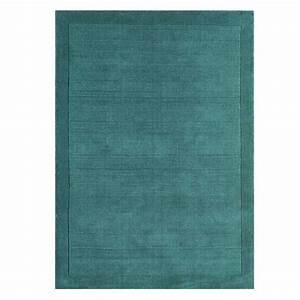 tapis moderne en laine bleu turquoise fait main en inde With tapis laine bleu
