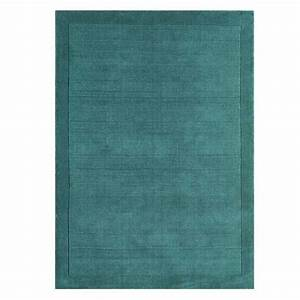 tapis moderne en laine bleu turquoise fait main en inde With tapis laine moderne