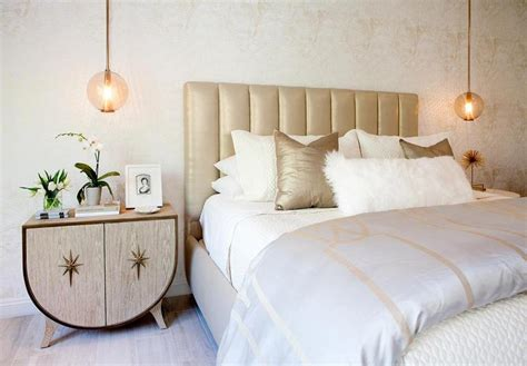 Gray And Gold Bedroom With Pendants Over Nightstands