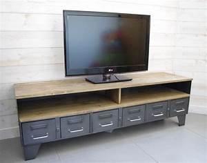 Meuble Industriel Vintage : meuble tv m tal industriel tiroirs et niche pour les appareils ~ Nature-et-papiers.com Idées de Décoration