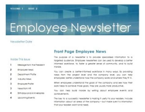 employee newsletter template word excel formats