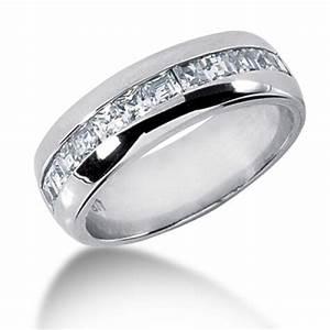 120 Carat Mens Princess Cut 7 MM Diamond Wedding Band In