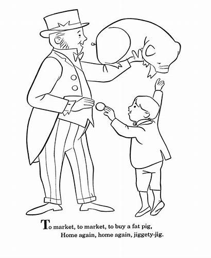 Nursery Market Rhymes Goose Mother Coloring Pages