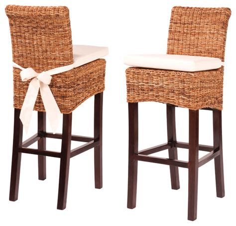 banana leaf counterstool with cushion tropical