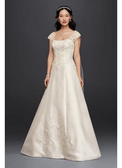 satin cap sleeve wedding dress davids bridal