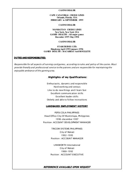 Resume For Casino Dealer by Ranel Cruzgarcia Resume