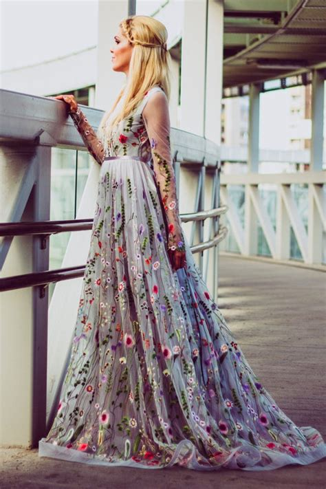Flower Wedding Dress In Gray Color Wedding Dress With