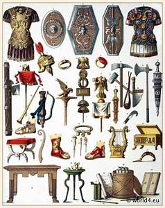 Roman armor, shields, weapons, helmets, axes, swords ...