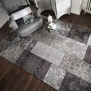 Manhattan, Patchwork, Black, And, Grey, Rug, Collection