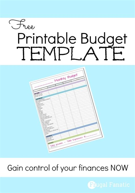 printable monthly budget template free monthly budget template frugal fanatic