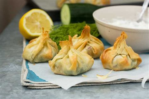 filo pastry cases canapes filo parcels with tzatziki scrummy