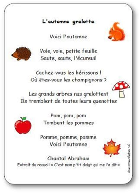 comptine l automne grelotte de chantal abraham paroles illustr 233 es 224 imprimer fall preschool