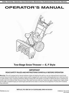 Mtd 31as6fef729 User Manual Snow Thrower Manuals And