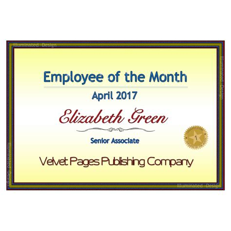 100 employee of the month certificates 100 employee