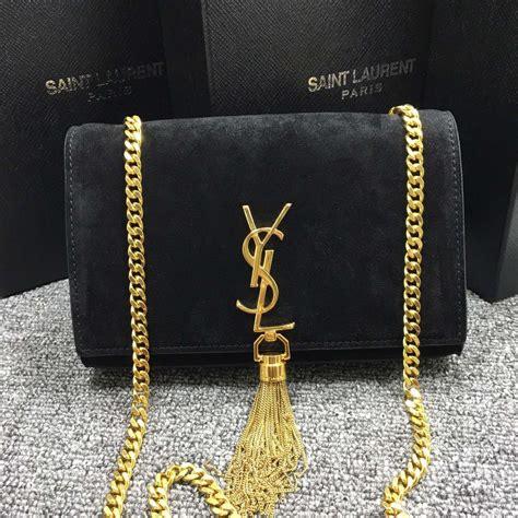 ysl tassel chain bag cm suede leather black  replica ysl