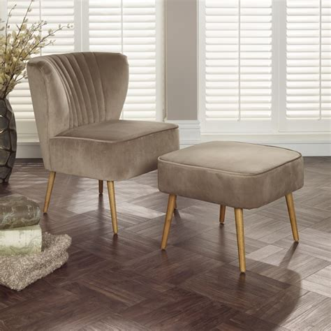 Bedroom Chair And Footstool by Samova Fabric Bedroom Chair And Foot Stool In Mink Velvet