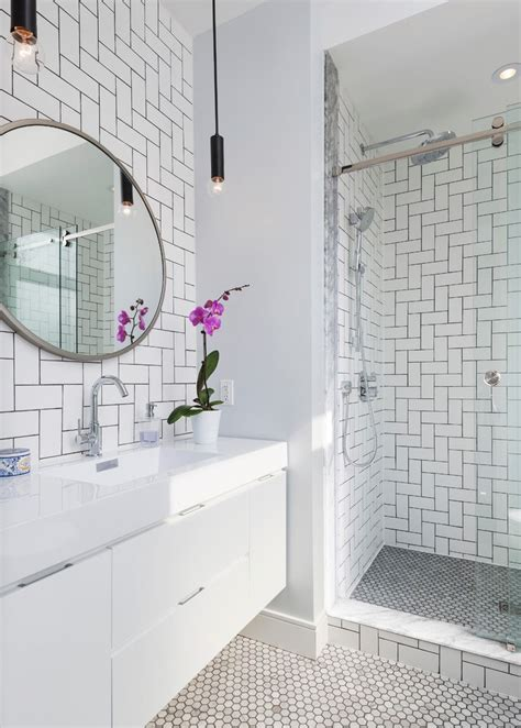 pleasing daltile subway tile white  whtie vanity wall hung