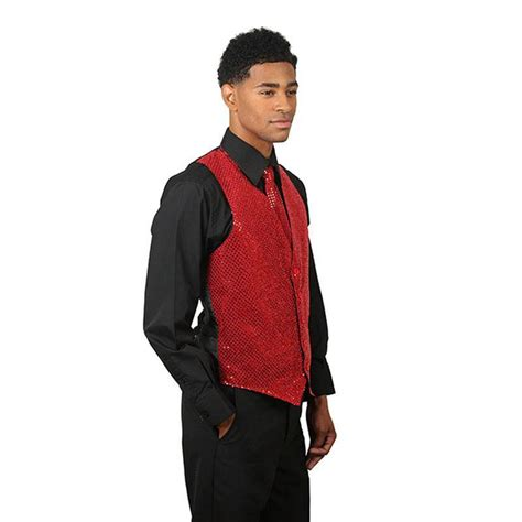 mens red sequins vest