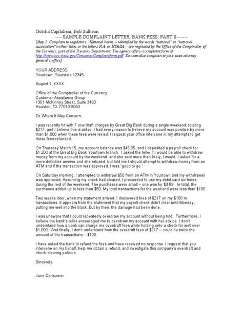 Sample Complaint Letter Bank Fees II | Overdraft | Banks