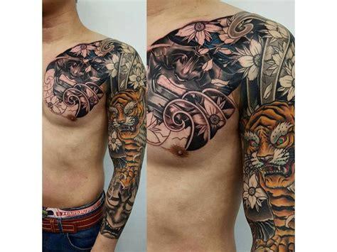 japanese tattoo  mans  chest  full sleeve