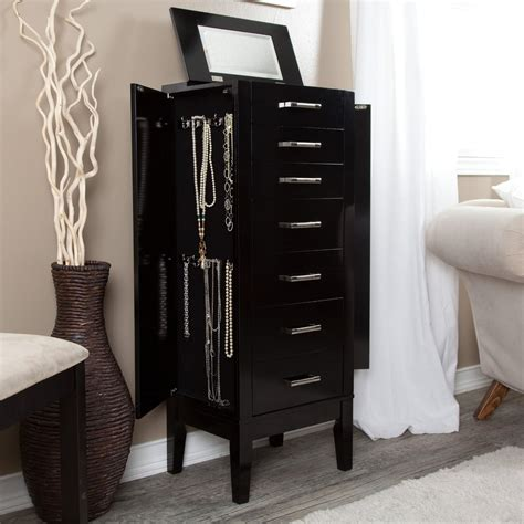 Black Standing Jewelry Armoire standing jewelry armoire black necklace ring wood storage