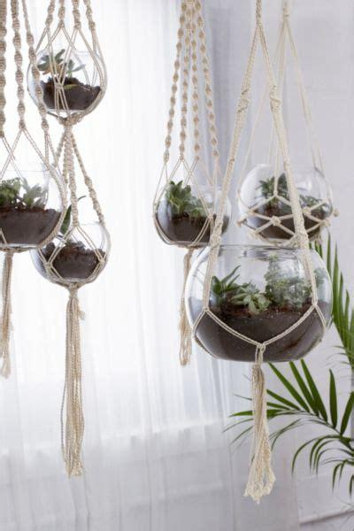 hanging macrame terrarium set   urban outfitters