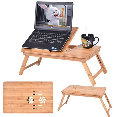 laptop tray for portable bamboo laptop desk table folding breakfast bed 6781