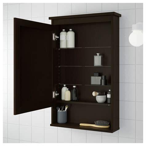 hemnes mirror cabinet with 1 door black brown stain