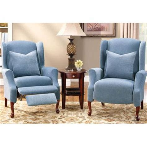 Wingback Recliner Slipcover by Stretch Pique Wing Chair Recliner Cover Places