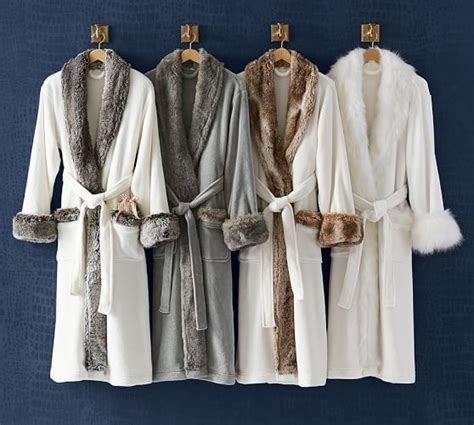 pottery barn robe faux fur robe without gray chinchilla pottery barn