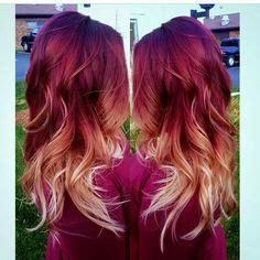 pink black  blonde hair ombre pink blonde black grey