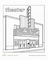Town Coloring Theater Places Paint Pages Education Worksheet Worksheets Preschool Around Drawing Kindergarten Theatre Without Community Child Take Him Building sketch template