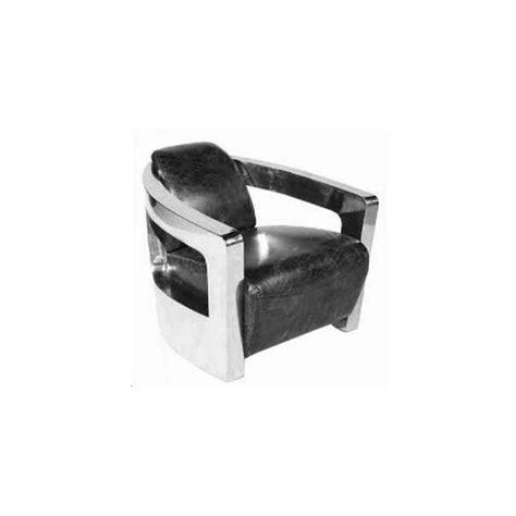 fauteuil vintage en cuir noir vieilli italien et inox odyssee