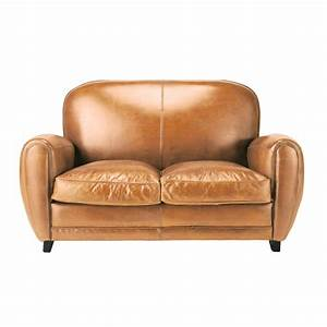 Canape vintage 2 places en cuir cognac oxford maisons du for Canape maison du monde 2 places
