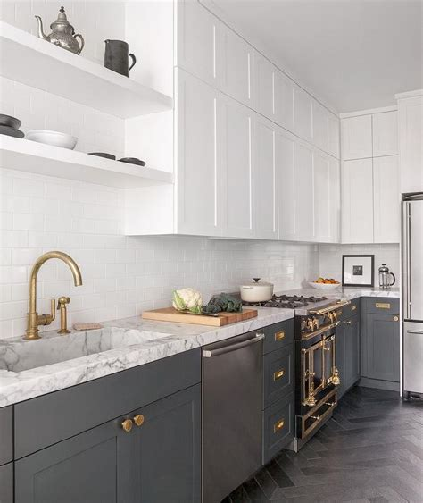 Again we cannot find the exact information about the wall paint used here. White and Gray Kitchen with Brass Harwdare - Contemporary ...
