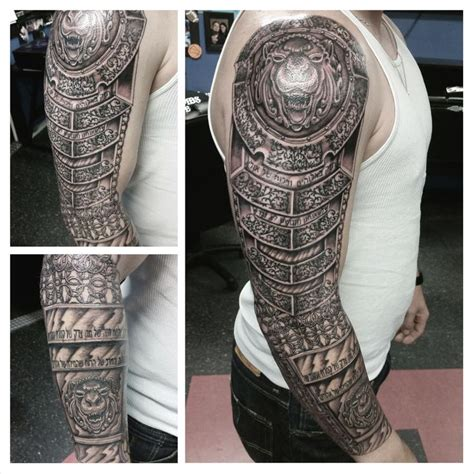 armor tattoo armor sleeve tattoo boneface ink ink