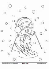 Coloring Skiing Snow Cartoon Fun Sheet Worksheet Kidzezone Fine Motor Pdf sketch template