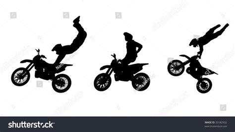 Silhouettes Motorbike Stunts Stock Illustration 33182932