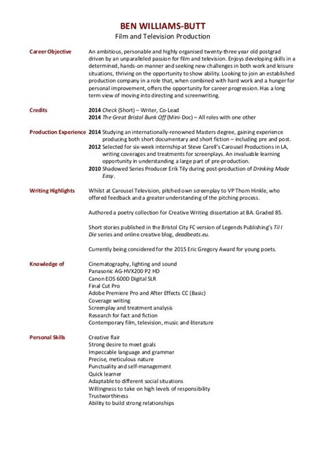 Television Resume Objective by Ben Williams And Television Production Cv