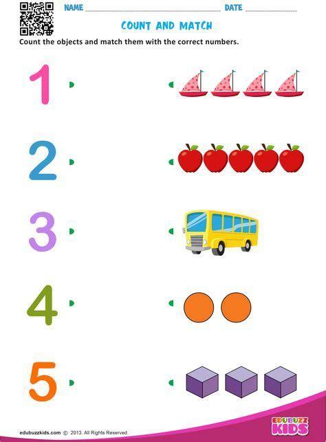 maths match numbers worksheets  preschool
