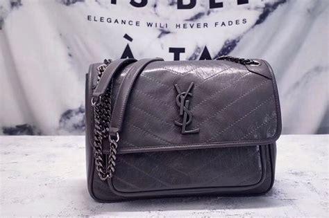ysl saint laurent niki medium bag grey vintage leather  unrbru replica hermesceline