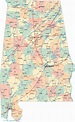 Detailed administrative map of Alabama state with roads ...