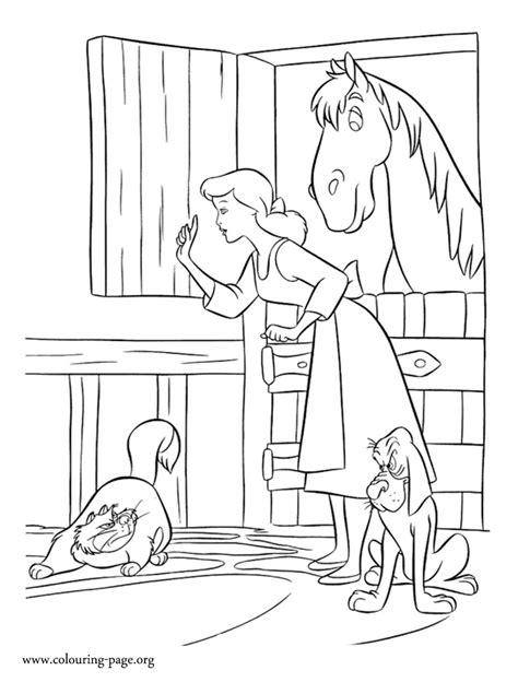 cinderella cinderella protecting  friends coloring page