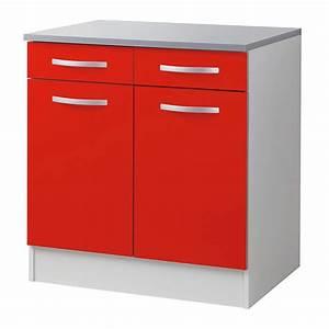 Meuble Bas Alinea : meuble bas 80cm smarty rouge ~ Teatrodelosmanantiales.com Idées de Décoration