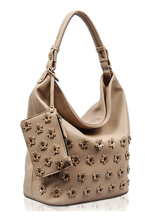 solid  flower hobo  attached pouch single handle bag