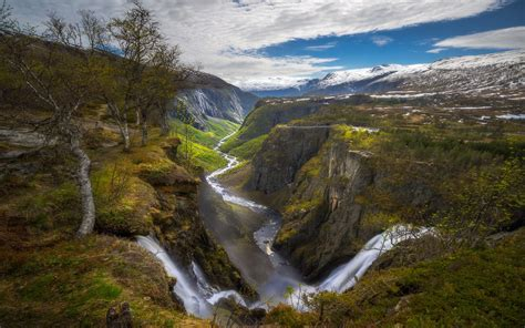 nature landscape waterfall canyon river norway trees