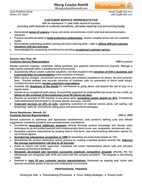 customer service representative resume exle see best